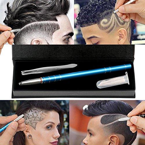 Hair Engraving, MagiForet Hair Tattoo Pen, Hair Razor Pen, Hair Tatoo Trim Styling Face Eyebrow Shaping Device, Hair Engraving Shaver Pen + 10 Blades + Tweezers for Men Women Teens (Blue) by MagiForet