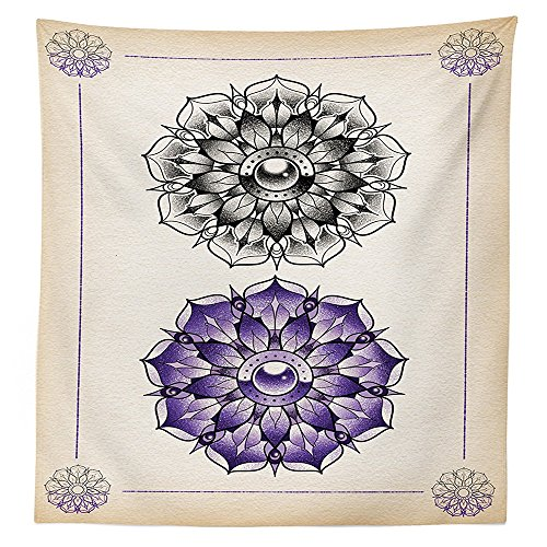 (vipsung Trippy Art Decor Tablecloth Cultural Ancient Lotus Figure Exquisite Purity Grace Icon Artsy Image Dining Room Kitchen Rectangular Table Cover)