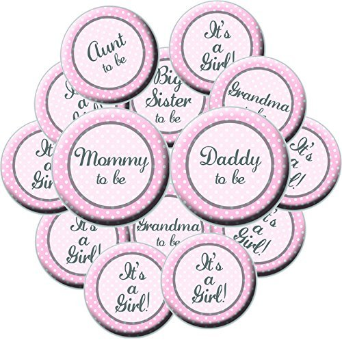 16 Girl Baby Shower Button Set  Pink Baby Shower Buttons  Its A Girl  Mommy Button  Daddy Button