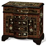 To store your valued jewelries and to add decorative beauty on your dresser top, our exquisite handcrafted gold highlighted Tibetan flower design jewelry chest serves this double purpose perfectly. Mirrored lift-top, two felt-lined ring trays...