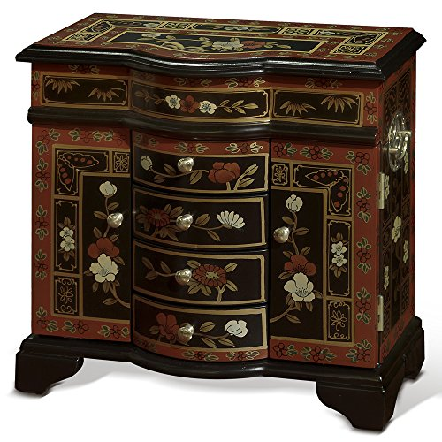Tibetan Hand Painted Wood Box (China Furniture Online Tibetan Jewelry Cabinet, Hand Painted Floral Motif)