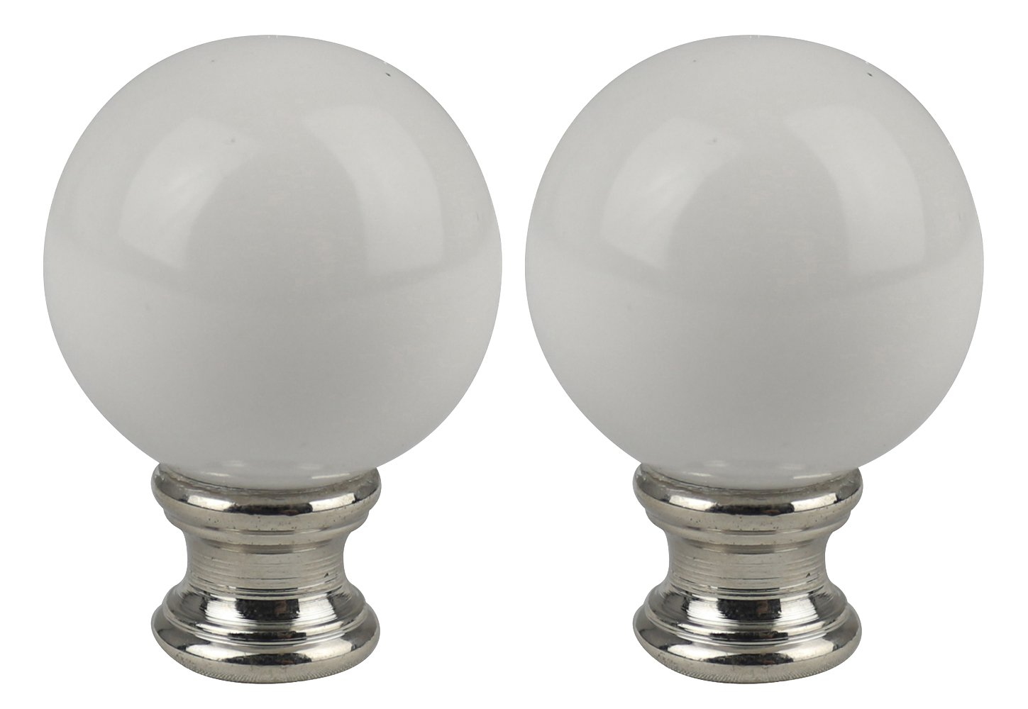 Urbanest Set of 2 Ceramic Ball Lamp Finials, 2-inch Tall, White