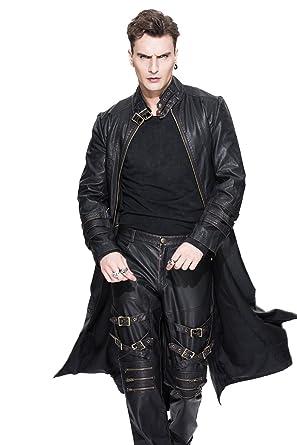 Devil Fashihon Gothic Herren Schwarz PU Leder Jacken Mantel Steampunk Retro  Heavy Metal Herbst   Winter c4e51dc38a