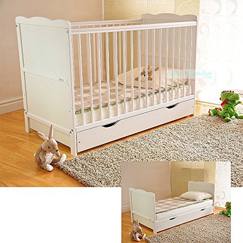 Free UK Delivery ✔ White Solid Wood Baby Cot Bed with Drawer & Deluxe Water Repellent Mattress Converts into a Junior Bed ✔ Height Adjustable ✔ Extreme Furniture JSZ120