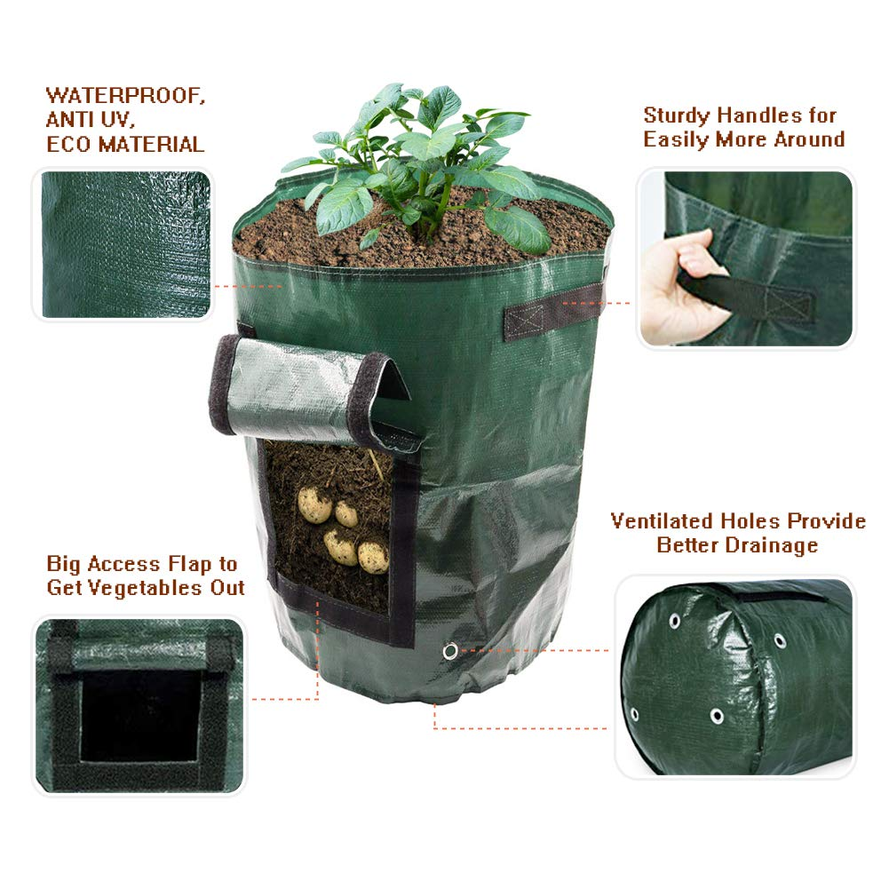 4-Pack Potato Grow Bags, Garden Vegetable Grow Bags with Access Flap and Handles, Indoor Outdoor Waterproof Breathable Felt Plant Planter For Vegetables, Potato, Carrot, Onion, Tomato, Flower and Herb