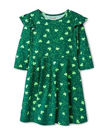 99bb03b6d288c Amazon.com: MiNE Girls' St. Patrick's Day Shamrock Print Dress - Cat ...
