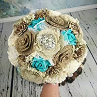 Burlap and Sola Flowers Beach Summer Wedding Bouquet Turquoise