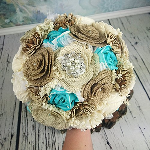 Burlap and Sola Flowers Beach Summer Wedding Bouquet Turquoise by MKedraWedding