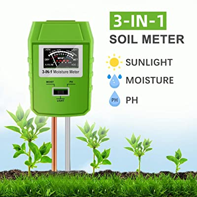 JeahoreKy Soil pH Meter, 3-in-1 Soil Test Kits with Moisture, Light and PH Tester for Plants, Garden, Farm, Lawn, Indoor & Outdoor (No Battery Needed) : Garden & Outdoor
