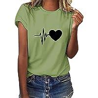 heekpek Camisetas Mujer Verano Manga Corta Casual Camiseta Holgada con Estampado de Amor y Labios T-Shirt Mujer Short…