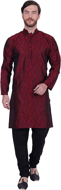 Maple Clothing Jacquard Silk Party Wear Men's Kurta Pajama Indian Clothing