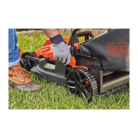 BLACK+DECKER Electric Lawn Mower, 10 -Amp, 15-Inch (BEMW472BH) 7 IMPROVED ERGONOMICS: Comfort grip handle makes the lawn mower easy to maneuver BETTER CLIPPING COLLECTION: Our winged blade achieves 30% better clipping collection NO MORE PULL CORDS: Push-button start makes starting the lawn mower a breeze