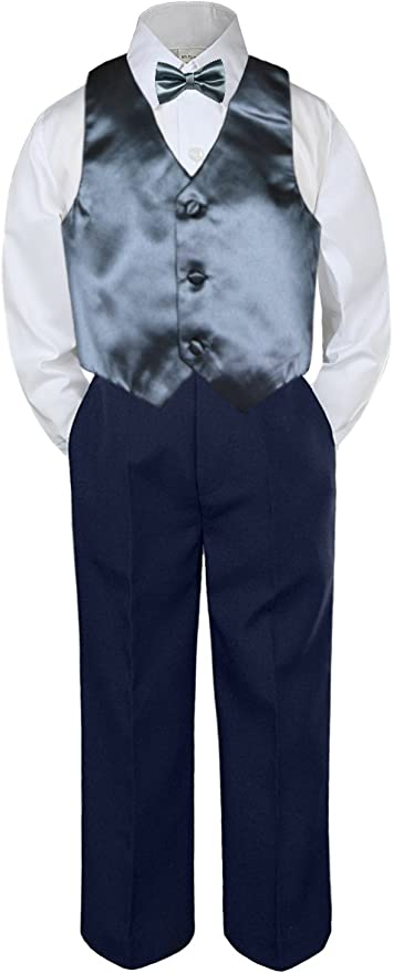 0-6 months S: Leadertux 4pc Baby Toddler Boys Turquoise Vest Bow Tie Navy Blue Pants Suits S-7
