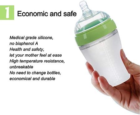 JSIHENA Bebés Biberones Taza con Asas con Boquilla de Silicona y Tapa Protectora Closer to Nature con Tetina de Silicona para Bebés de válvula antigoteo