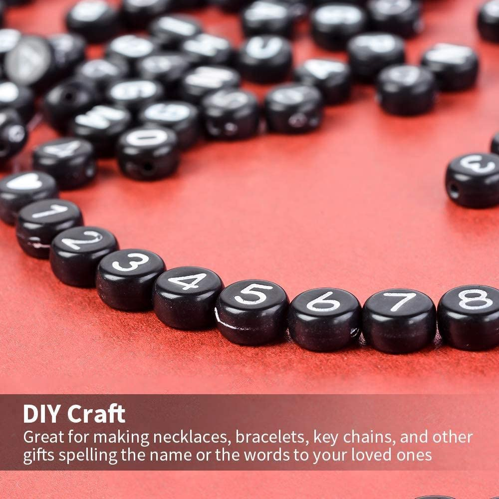 Early Educational Children DIY Mini Round Acrylic Beads Handmade Craft Black Bead + White Letter 1850pcs Letters Digital Beads Set for Bracelets Necklets