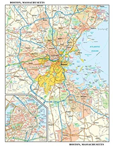 Boston Usa Wall (Boston, Massachusetts Wall Map - 11.5