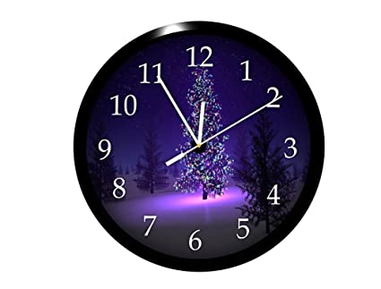 PINK PARROT Plastic Designer Glowing Christmas Tree 1 Wall Clock Including  Glass (Multi