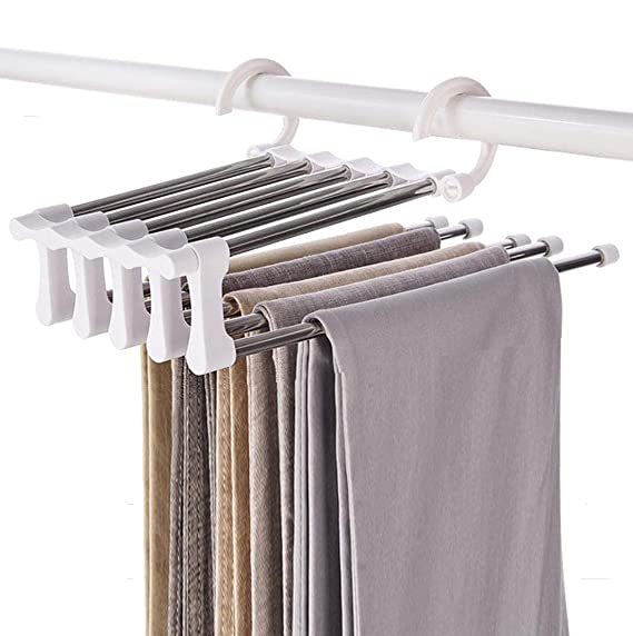 Yunai Stainless Steel Pants Hangers Jeans Clothes Organizer Folding Storage Rack Space Saver Storage Rack For Hanging by Yunai