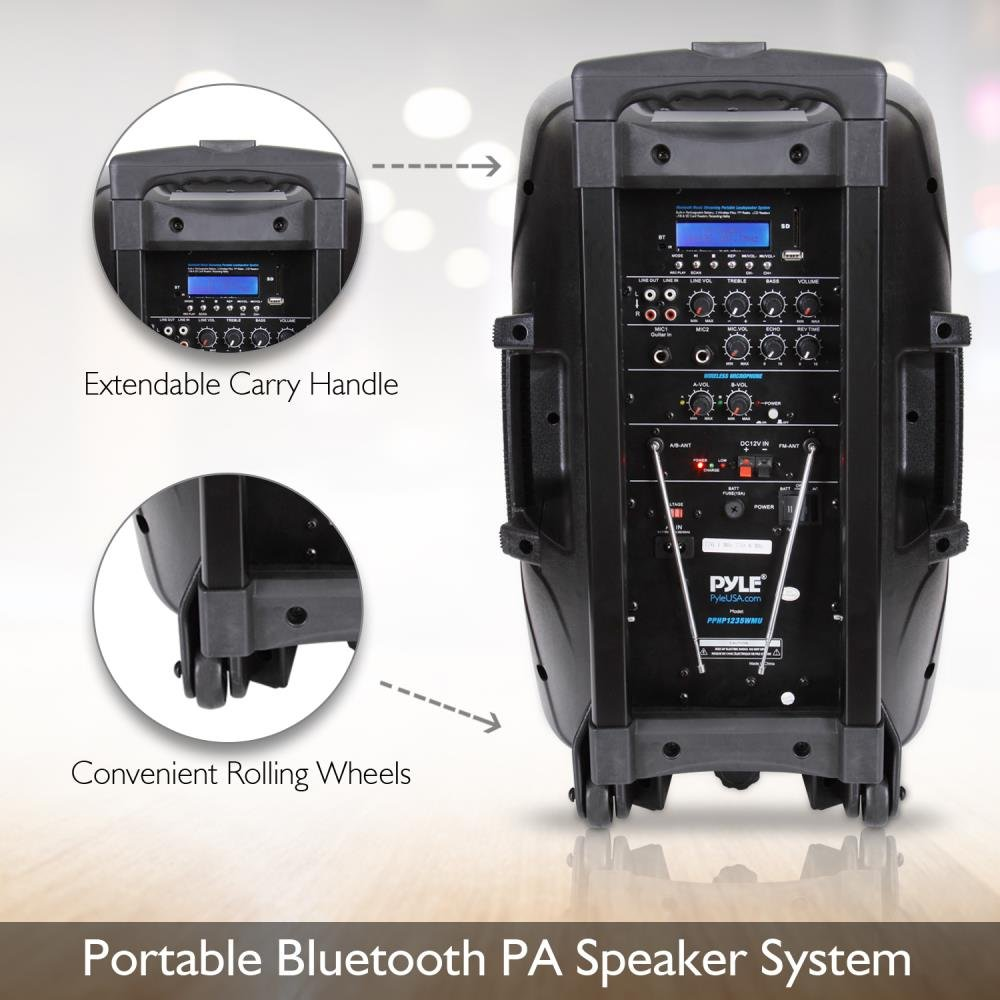 Pyle 1000 Watt, 12'' Bluetooth PA Speaker - Indoor / Outdoor Portable Sound System with (2) UHF Wireless Microphones, Rechargeable Battery, Audio Recording, USB/SD Readers, FM Radio (PPHP1235WMU) by Pyle (Image #6)