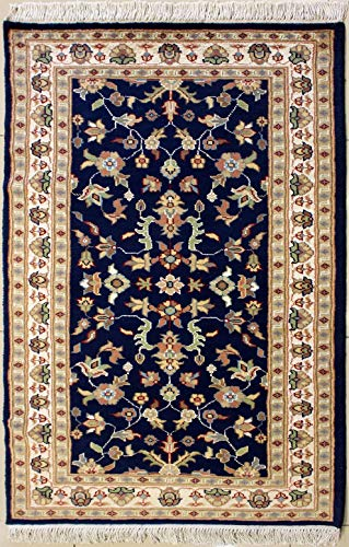RugsTC 3'0 x 5'1 Pak Persian Area Rug with Silk & Wool Pile - Floral Design | 100% Original Hand-Knotted in Blue,Ivory,Beige Colors | a 3x5 Rectangular Rug - Kashan Classic Rug Beige