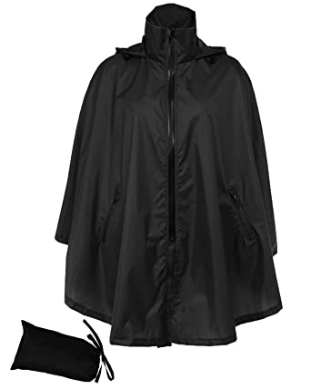 f5d02739ea1 FISOUL Women s Raincoats Waterproof Lightweight Active Outdoor Zipper  Hooded Rain Poncho Jacket(Black)(