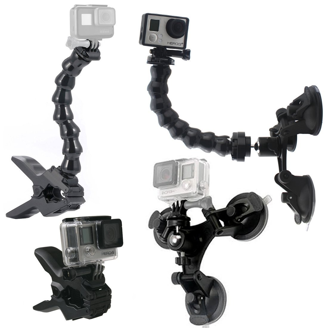 GreatCool Suction Cup Car Mount Holder with 360 Degree Mount+Jaws Flex Clamp Mount with Adjustable Gooseneck GoPro Accessories for GoPro Fusion Hero Session 6 5 4 3 2 and Other Action Camera