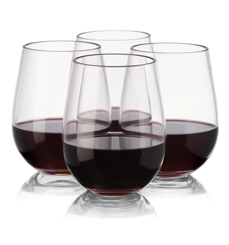 73f27674a09 Plastic Stemless Wine Glasses - Set of 4 Reusable Plastic Wine Glasses for  Parties - Reusable - Unbreakable - Shatterproof - 16 Ounce 450 Milliliter -  ...