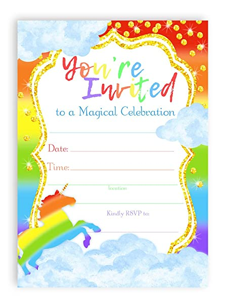 Unicorn Brights LARGE Invitations Rainbow Party