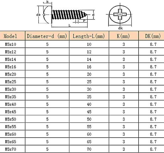 M5 Sujetadores Tornillos para Madera Acero Inoxidable 304 Cabeza Plana Tornillos Autorroscantes Gtagain Acero Inoxidable Tornillos Torniller/ía Clavos