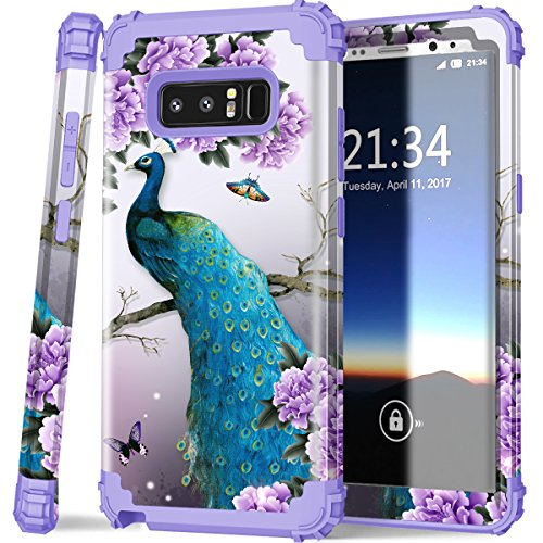 Samsung Galaxy Note 8 case,PIXIU Heavy Duty Protection Shock-Absorption&Anti-Scratch Hybrid Dual-Layer phone cases for Samsung Galaxy Note 8 2017 Realeased (peafowl /Purple)
