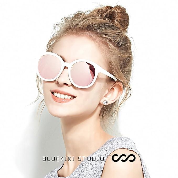 e7940836081 Amazon.com  BLUEKIKI YEUX Women Polarized Sunglasses Vintage Oversized  Round Mirror(Rose gold