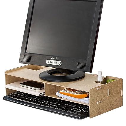 Ansley & HosHo - Soporte para monitor de ordenador de sobremesa y estantes de sobremesa,