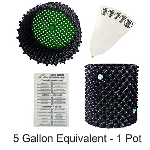 Superoots Air Pot Aerated Pruning Garden Plant Container + Twin Canaries Chart & Stakes - 5 Gallon Equivalent - 1 Pot