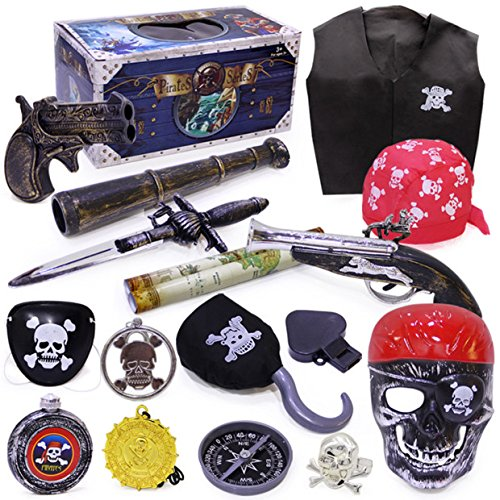 Qiyun Costumes & Accessories Halloween Pirate Toy Costume Accessories Set Crazy Toy Screaming Mask Facial Skeleton Pirates Figure of Action Kids Toys - Antique Pirate Gun