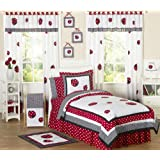 Red and White Ladybug Polka Dot Childrens Bedding 4 Piece Girls Twin Set