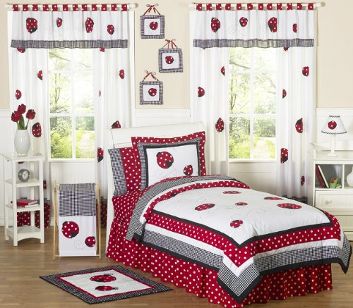 Sweet Jojo Designs 4-Piece Red and White Ladybug Polka Dot Children's Bedding Girls Twin Set ()