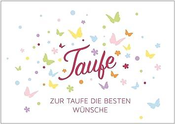 Glückwunschkarte Zur Taufe Zur Taufe Die Besten Wünsche Klappgrußkartetaufkarte Für Ein Mädchen Mit Bunten Schmetterlingen In
