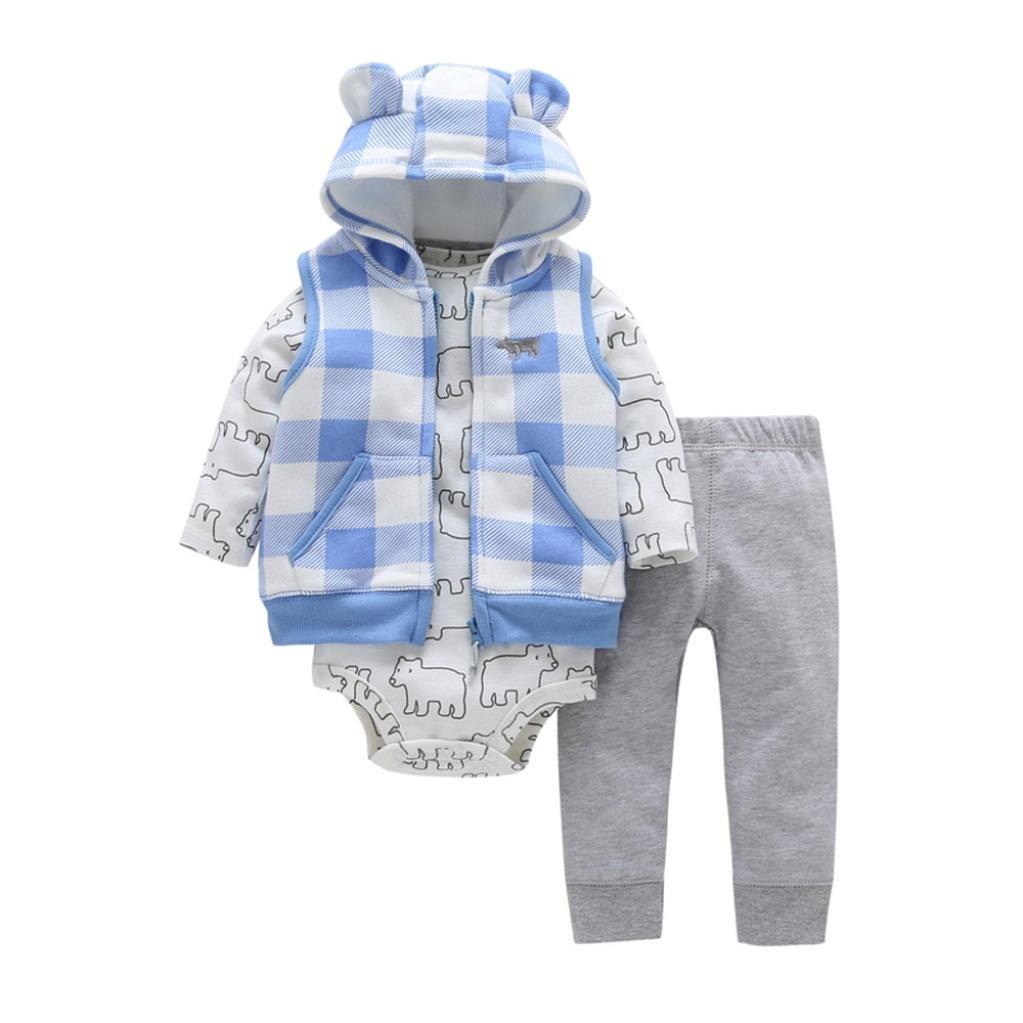 Warm Waistcoat+Pants+Romper,G-real 3Pcs Newborn Baby Infant Boys Girls Ear Hooded Waistcoat+Bear Print Romper+Solid Long Pants Outfit Sets For 6-24M (Blue, 18M)