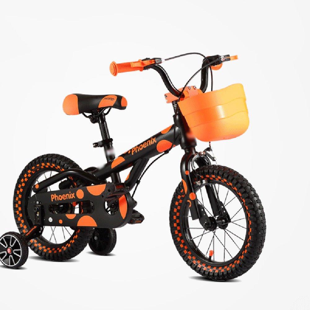 HAIZHEN マウンテンバイク 子供用自転車 グリーンイエローオレンジ サイズ12インチ、14インチ、16インチ アウトドアアウト 新生児 B07CG2LJ43オレンジ 16 inch