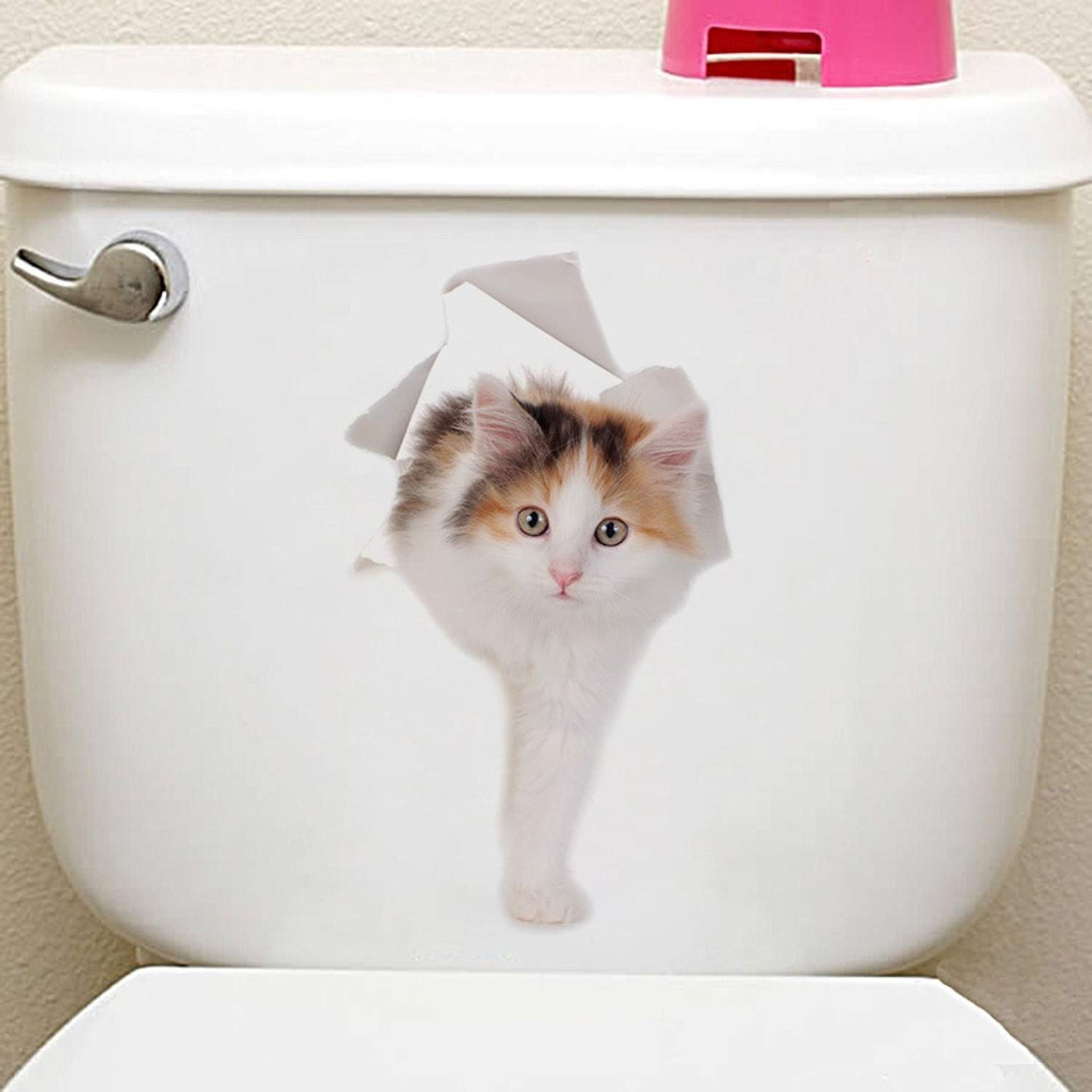 Amazon.com: Batop Cats 3D Wall Sticker - Toilet Stickers - Hole View Vivid Dogs Bathroom Home Decoration - Animal Vinyl Decals - Art Sticker Wall Poster ...