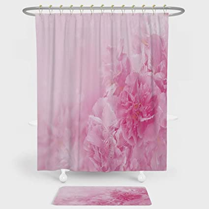 Light Pink Shower Curtain And Floor Mat Combination Set Spring Flowers Close Up Florets Bouquet Elegance