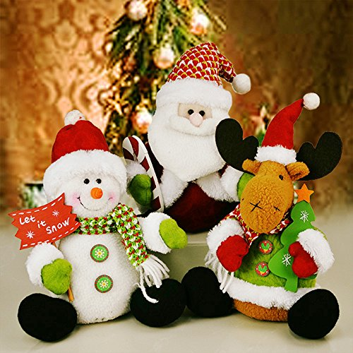 YOUDirect Christmas Plush Dolls - Set of 3 Soft Plush Stuffed Toy Animated Elk Santa Claus Snowman Figure Xmas Figurine Decorations Home Ornament Decoration Toys for Kids Birthday Christmas Gift (Figure Santa Plush)
