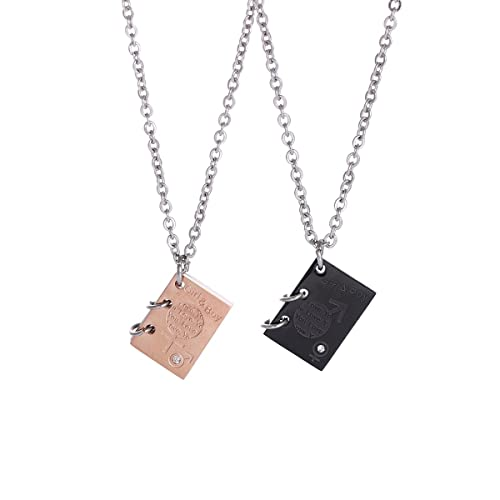 b1be4f200f FOXJWEL My Love Story Book Necklace His and Hers Matching Set Couple  Necklace (Girl and