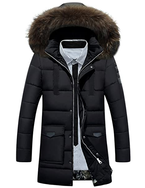 10ecc136875 Glestore Men s Winter Warm Down Coats Thick Fur Parka Jacket with ...
