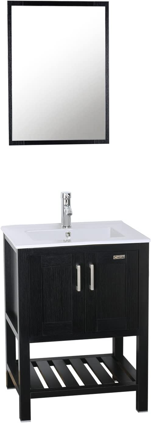 Eclife 24 5 Modern Bathroom Vanity Sink Combo With Overflow Ceramic Sink Top Mdf Stand Bathroom Cabinet Chrome Solid Grass Faucet And Pop Up Drain Counter Top Basin With Vanity Mirror