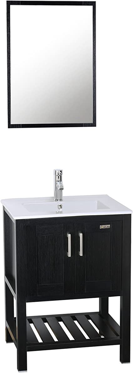 Eclife 24 Bathroom Vanity Sink Combo W Overflow White Drop In Ceramic Vessel Sink Top Black Mdf Modern Bathroom Cabinet Chrome Solid Brass Faucet Pop Up Drain W Mirror A08b07 Kitchen Dining