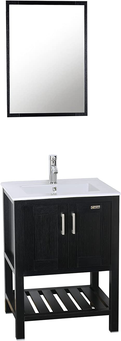 Amazon Com Eclife 24 Bathroom Vanity Sink Combo W Overflow White Drop In Ceramic Vessel Sink Top Black Mdf Modern Bathroom Cabinet Chrome Solid Brass Faucet Pop Up Drain W Mirror A08b07