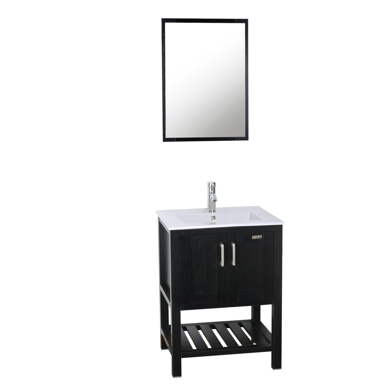 eclife 24 Bathroom Vanity Sink Combo W Overflow White Drop in Ceramic Vessel Sink Top Black MDF Modern Bathroom Cabinet Chrome Solid Brass Faucet Pop Up Drain W Mirror A08B07