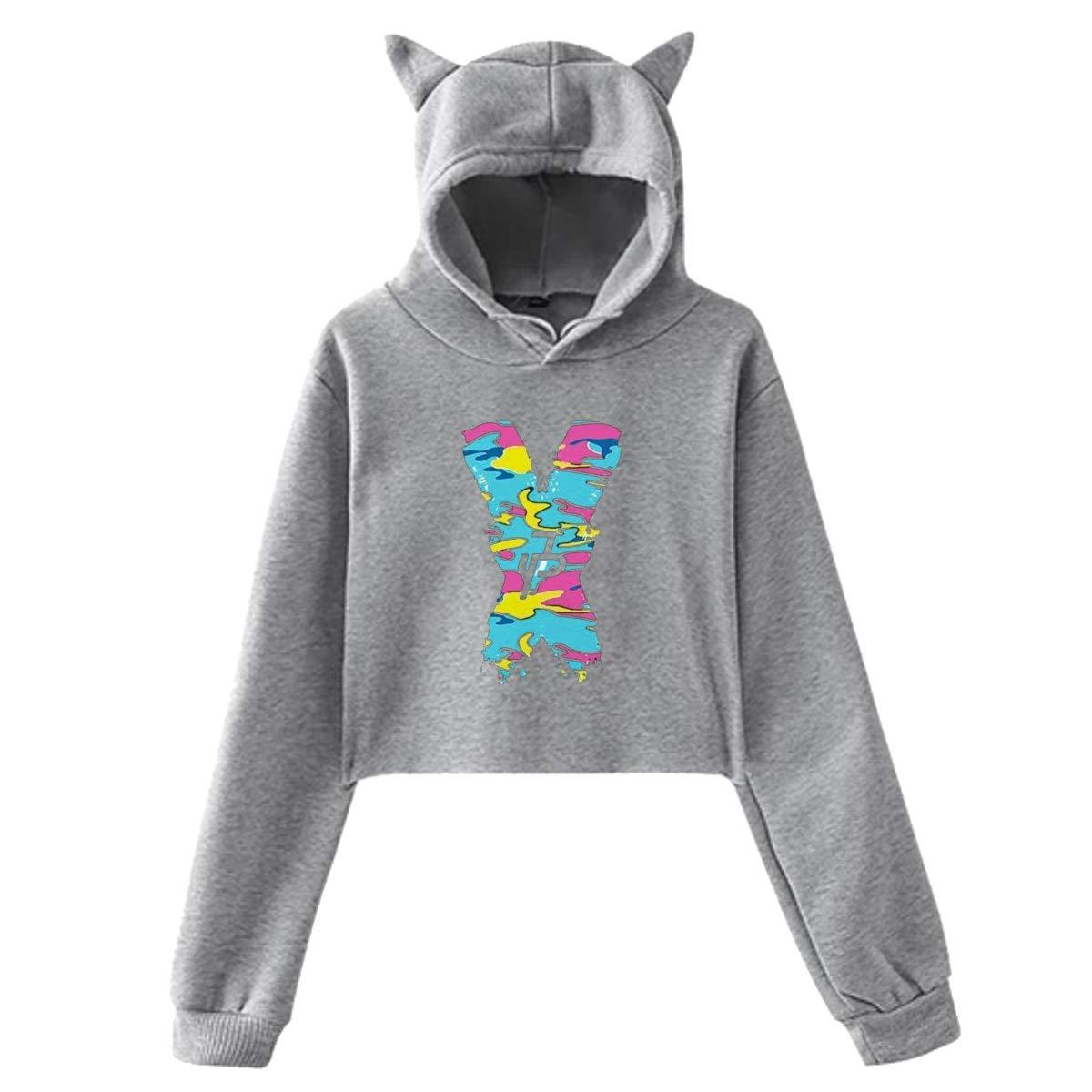 Womens Cat Ear Pullover Hoodie Jake Paul X JP Hooded Sweatshirt Hoodies for Women Girls Clothes Outdoor Sport Coat Tops Gray 29