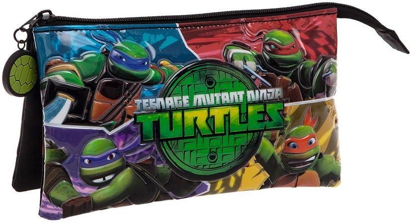 Tortugas Ninja Estuche Tres Compartimentos, Color Verde, 1.32 litros: Amazon.es: Equipaje